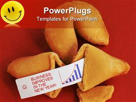 Two fortune cookies on a red background. One is opened showing a fortune saying Business prospects template for powerpoint