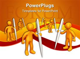 PowerPoint template displaying a number of people holding the pens with orange background