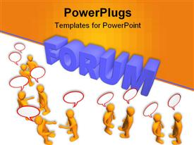 Many humans with talk bubbles and worth forum  debate powerpoint design layout