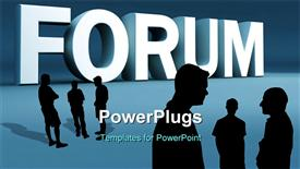 PowerPoint template displaying white 3D text 'forum' on blue background with group discussing