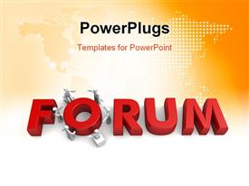 PowerPoint template displaying the word forum with a lot of figures and map in background