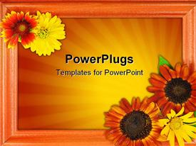 PowerPoint template displaying beautiful picture frame with lots of flowers on an orange background