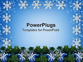 PowerPoint template displaying christmas card background or border on green vegetation with gift packs