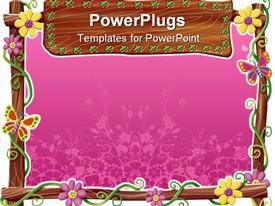 PowerPoint template displaying a lovely purple colored flower frame won a white background