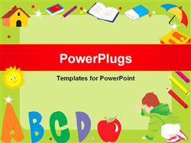 PowerPoint template displaying green frame with alphabets ABCD, books, colors, umbrella, eraser, house and a kid