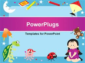 PowerPoint template displaying blue frame with objects like colors, book, ice cream, teddy bear, kite, octopus, tortoise and a little girl