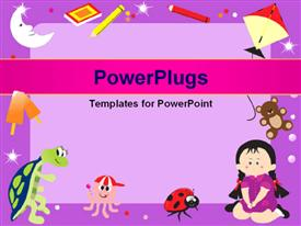 PowerPoint template displaying learning depiction with little kid and learning materials over purple surface