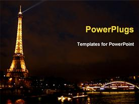 PowerPoint template displaying eiffel tower and the night city. Paris. France