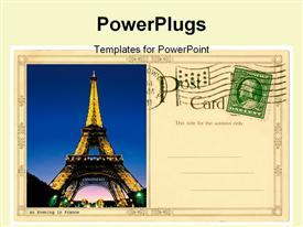 PowerPoint template displaying a post card with a picture of the effiel tower