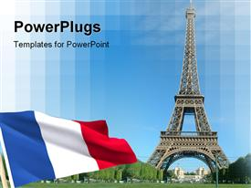PowerPoint template displaying flag and Eiffel tower in Paris