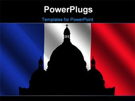 PowerPoint template displaying sacre Coeur Montmartre and rippled French Flag in the background.