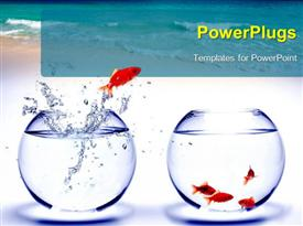 PowerPoint template displaying fish jumping from one fish bowl to other