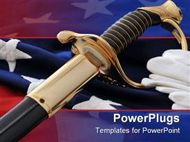 Celebrating The American Soldier - White gloves saber and flag powerpoint design layout