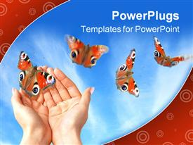 PowerPoint template displaying four flying butterflies and two woman hands releasing butterfly on bright blue sky background