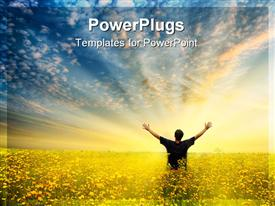 PowerPoint template displaying man standing in a field with outstretched arm to blue sky