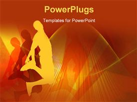 PowerPoint template displaying young boy jumping on air - multicolor background