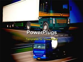 Big modern freight truck on the road with motion blur effect  logistics powerpoint design layout