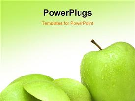 PowerPoint template displaying various green apples with greenish background and place for text