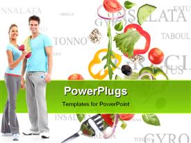 PowerPoint template displaying happy couple having healthy vegetable diet and exercising for fitness