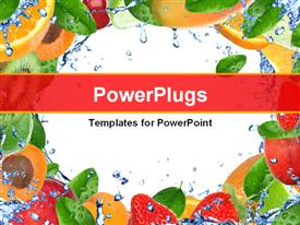 PowerPoint template displaying collage of fresh healthy fruits and vegetables with splashing water