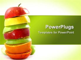 PowerPoint template displaying stack of freshly cut red, yellow and green apples and oranges on green background