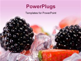 Ice Strawberries and Blackberries. Fresh strawberries and blackberries with ice cubes presentation background