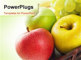 Three apples in different colors placed in a wicker powerpoint design layout