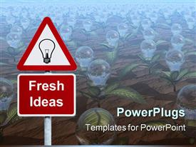 PowerPoint template displaying red triangle sign with light bulb and fresh ideas on background of seedlings