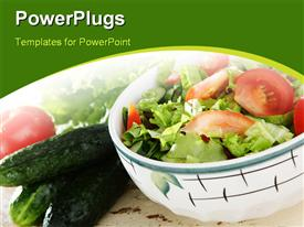 PowerPoint template displaying some vegetables in a white bowl with cucumber and tomatoes by the side