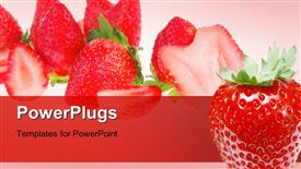 PowerPoint template displaying fresh and healthy strawberries over red background