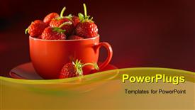 PowerPoint template displaying cup and saucer filled with fresh strawberry over red background