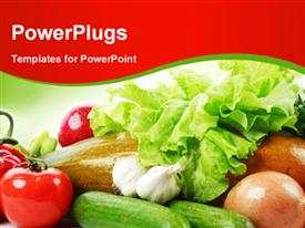PowerPoint template displaying fresh vegetables and fruits depicting healthy lifestyle