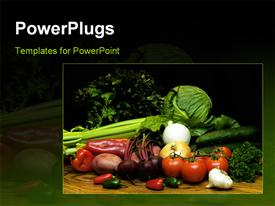 PowerPoint template displaying close up of fresh vegetables tomato onion pepper cucumber