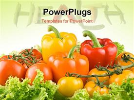 PowerPoint template displaying a number of vegetables with the health word in the background