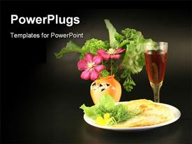 PowerPoint template displaying fried vegetables wine and a bouquet on a black background