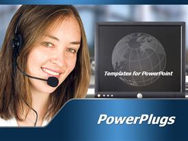 PowerPoint template displaying a call center girl with a screen in the background