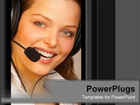 PowerPoint template displaying smiling woman with headset