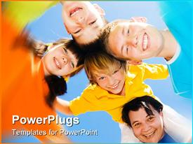 PowerPoint template displaying a group of children with their mother