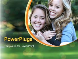 PowerPoint template displaying two female friends playing and smiling on a blurry background