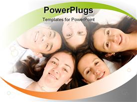PowerPoint template displaying five smiling humans with their heads together in a lying posture
