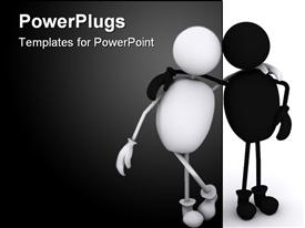 PowerPoint template displaying black and white person figures standing arm in arm