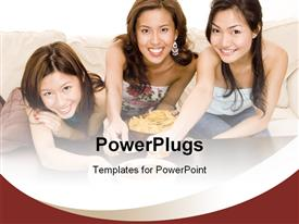 PowerPoint template displaying three pretty dark haired ladies smiling and eating chips