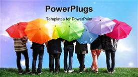 PowerPoint template displaying a lot of people with colorful umbrellas
