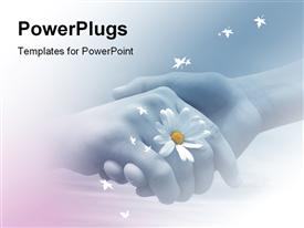 PowerPoint template displaying two hands shaking each other with one holding a flower