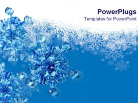 Blue icicles on frosty background powerpoint design layout