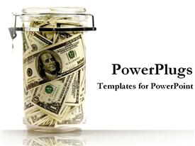 PowerPoint template displaying glass container with locked lid filled with dollar bills on white background