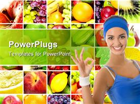 PowerPoint template displaying collage of fruits behind smiling woman in blue vest and headgear