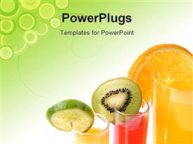 Glass of orange juice with cut fruits powerpoint template
