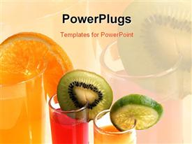 Glass of orange juice with cut fruits template for powerpoint