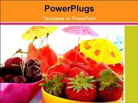PowerPoint template displaying fresh healthy fruits in pink and yellow bowl with parasols